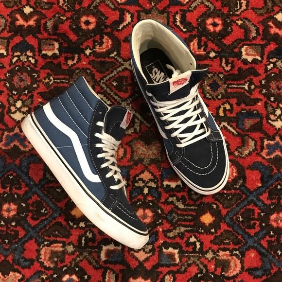 2bc48773e9088c Vans Shoes - Navy White Vans Sk8-Hi Slim Core Classics EUC